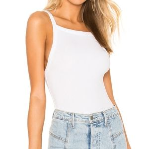 Free People High Neck Set Up Ribbed Tank Top White